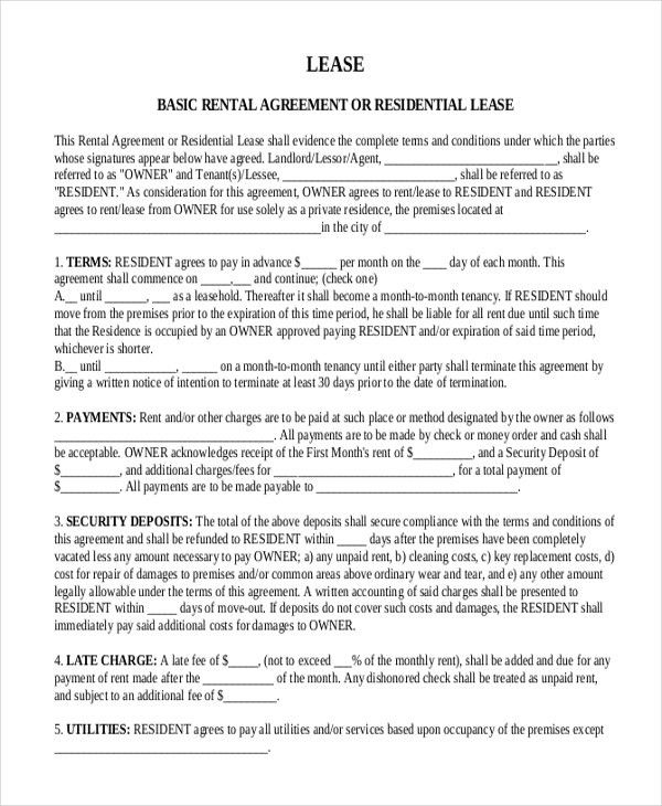 Rent Lease Form Free Rental Forms To Print Free And Printable - lease template word