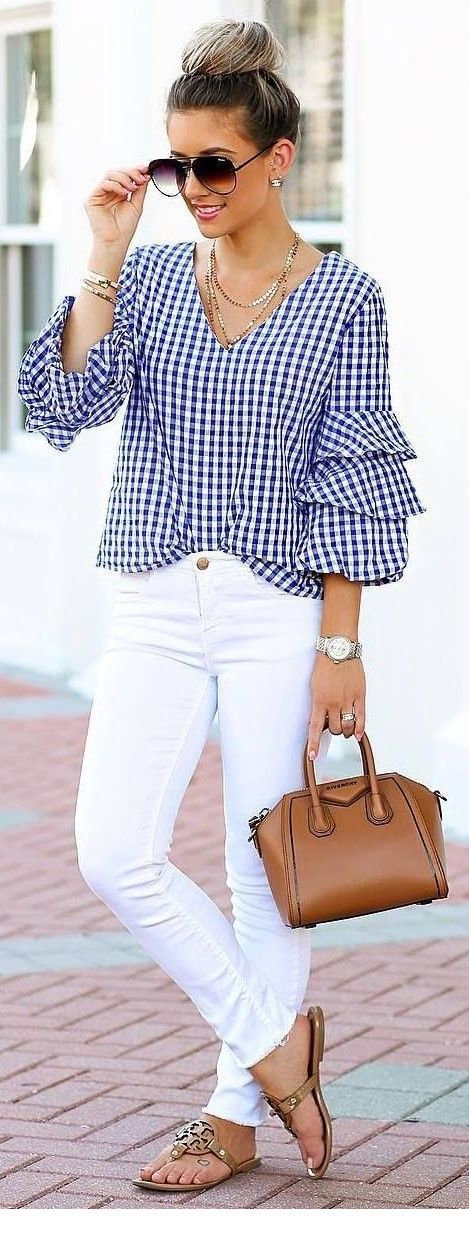 Cute plaid shirt and white pants for summer