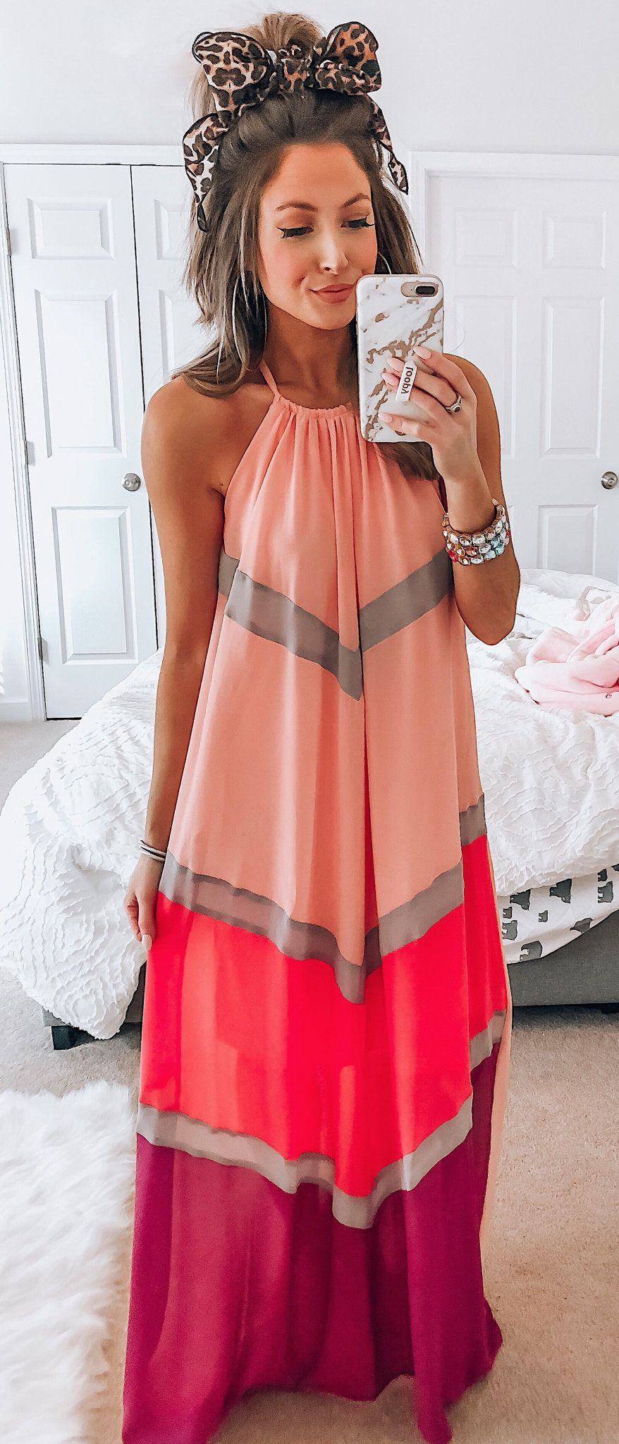 pink and purple halter long dress #spring #outfits