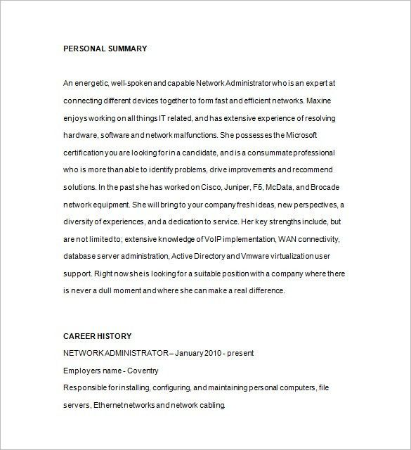 Network Administrator Resume Template Network Administrator - sample database administrator resume