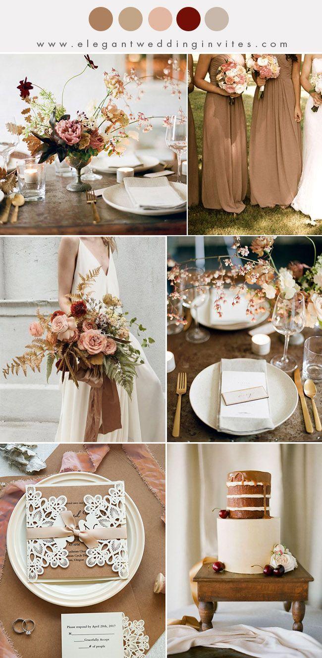 stunning mocha brown and earthy pink fall wedding colors