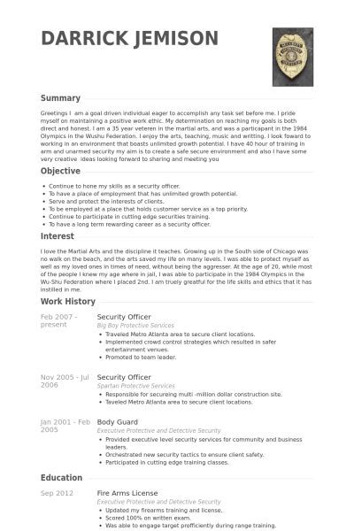 Security Officer Resume Template Unforgettable Security Guard