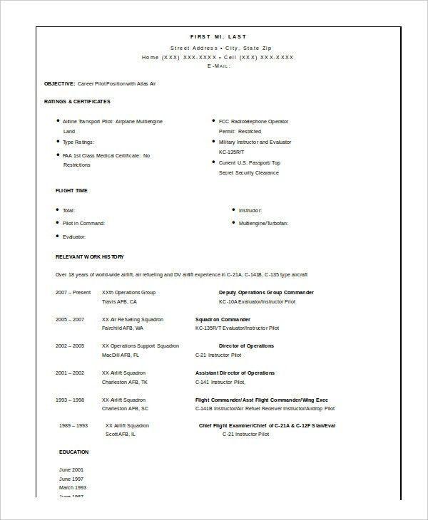 Pilot resume download military resume military resume examples - pilot resume template