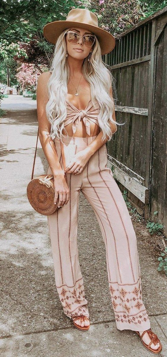 brown stripe pants #summer #outfits