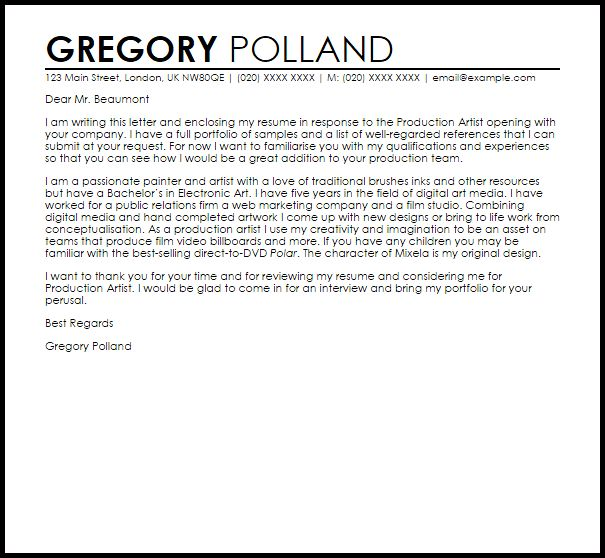 Art Production Manager Cover Letter Cvresumeunicloudpl