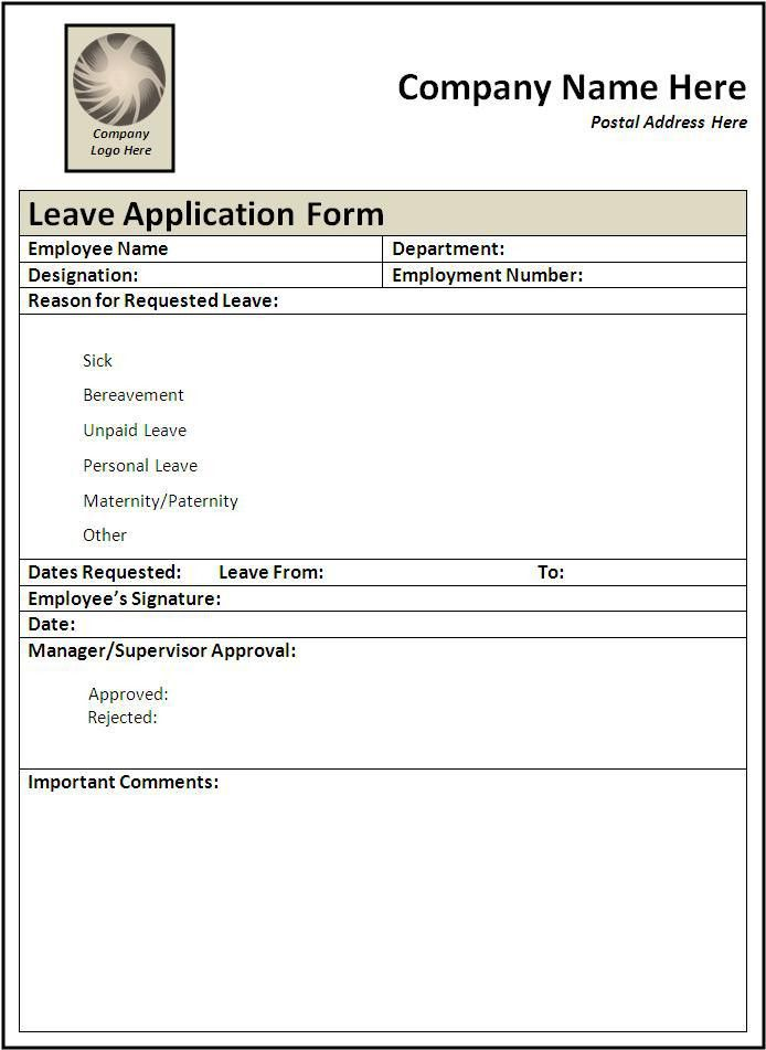 Sample Of Leave Application Form Leave Application Form Template - application for leave