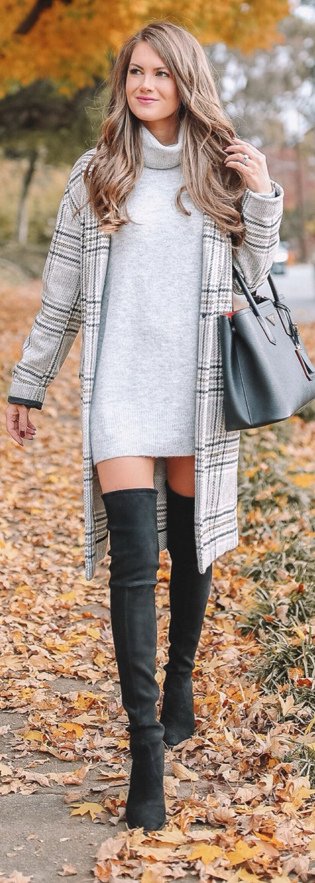 gray turtleneck mini dress and plaid coat