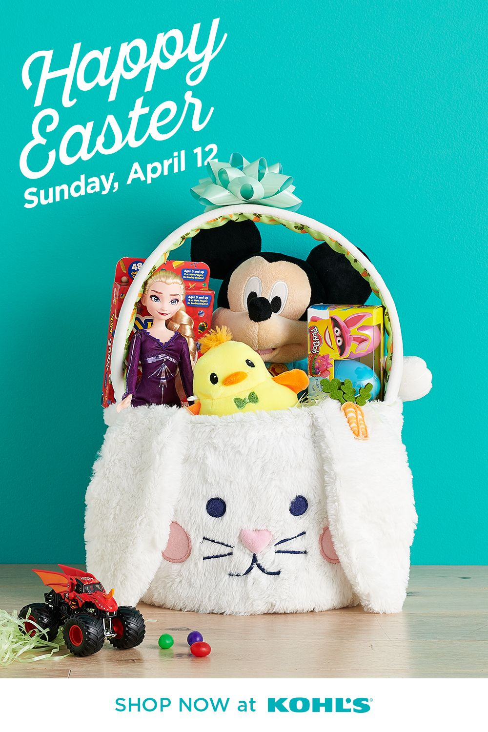 Get a jump start on creating the ultimate Easter basket. Begin with the cutest bunny basket and some sweet treats. Finish it off with top toys that are sure to be their new favorites! Shop Disney and more at Kohl's and Kohls.com. #easter #easterbasket