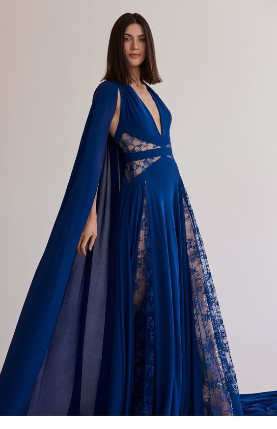 Glam long blue dress with lace