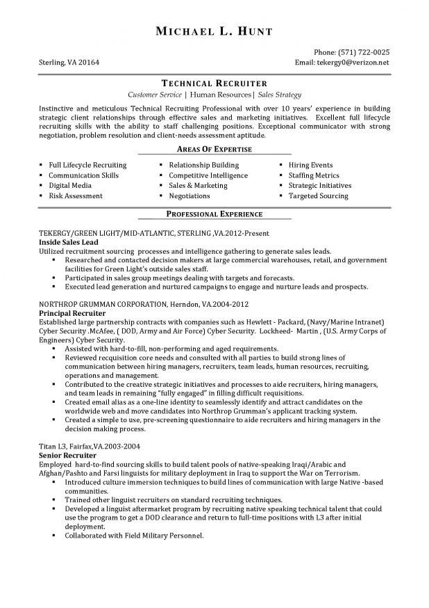 Recruiter Resume Samples Hrrecruiter Free Resume Samples
