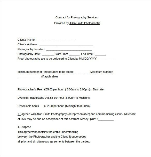 Contract Template For Services Service Contract Template 8 Free - photography services contract