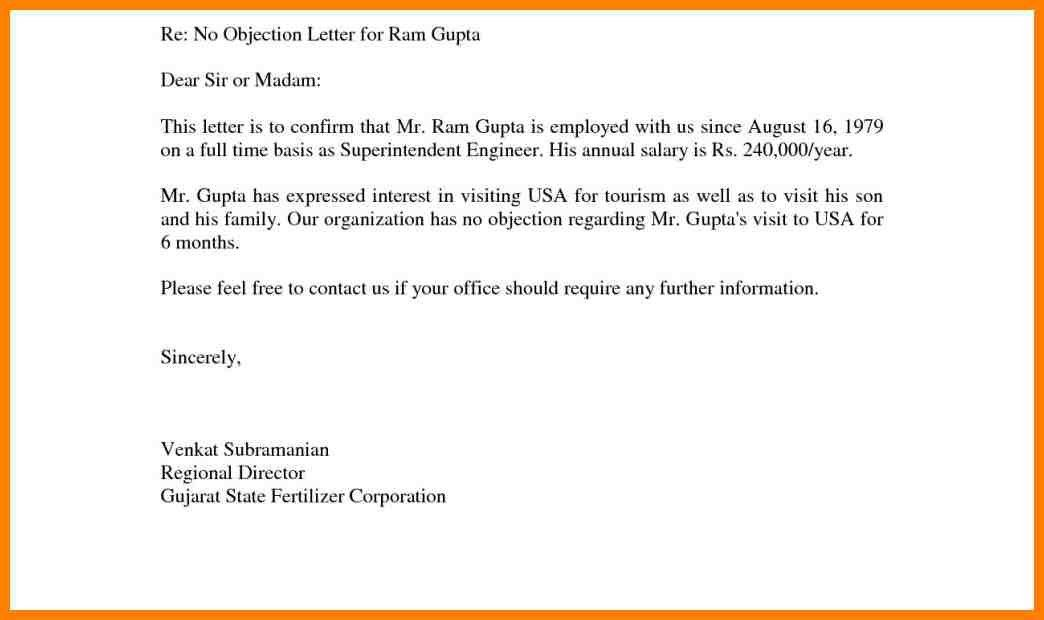 2+ Sample Of No Objection Letter | Resume Emails  No Objection Letter Sample For Job