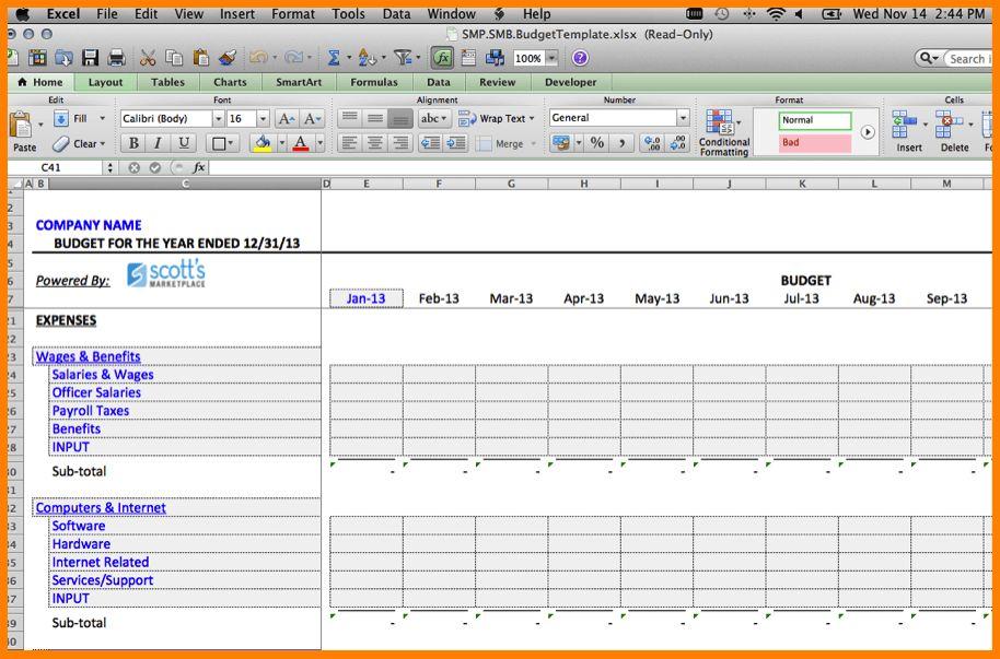 Expense Excel Template
