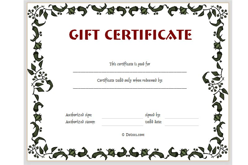 Printable Gift Certificates Templates Free Click Here For Full - blank gift certificates templates