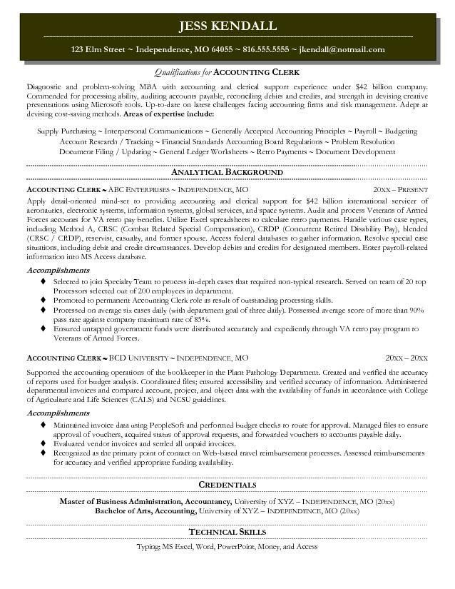 Accounting Clerk Resume Sample Unforgettable Accounting Clerk