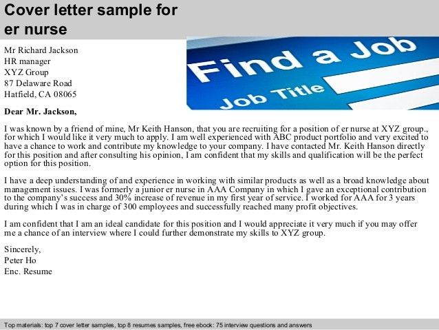 Emergency Room Nurse Cover Letter Example | Cover Letter