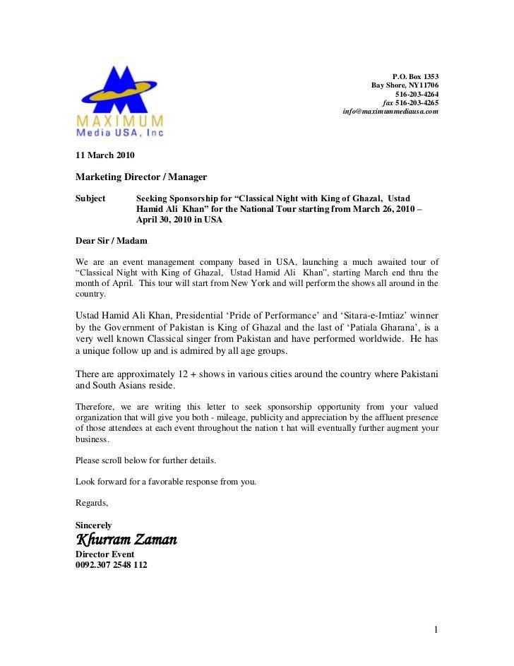 Sponsorship Proposal Letter 40 Sponsorship Letter Sponsorship - event proposal letter