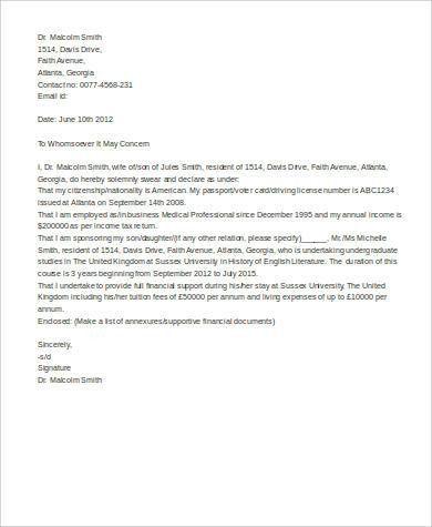 Sample affidavit free sworn affidavit letter template format - affidavit of support
