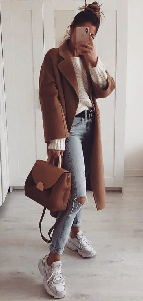 brown leather zip-up jacket #spring #outfits