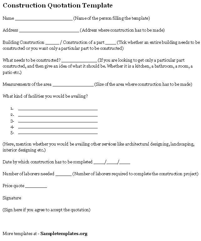 Quotation Document Sample Quotation Template 42 Documents In Pdf - construction quotation