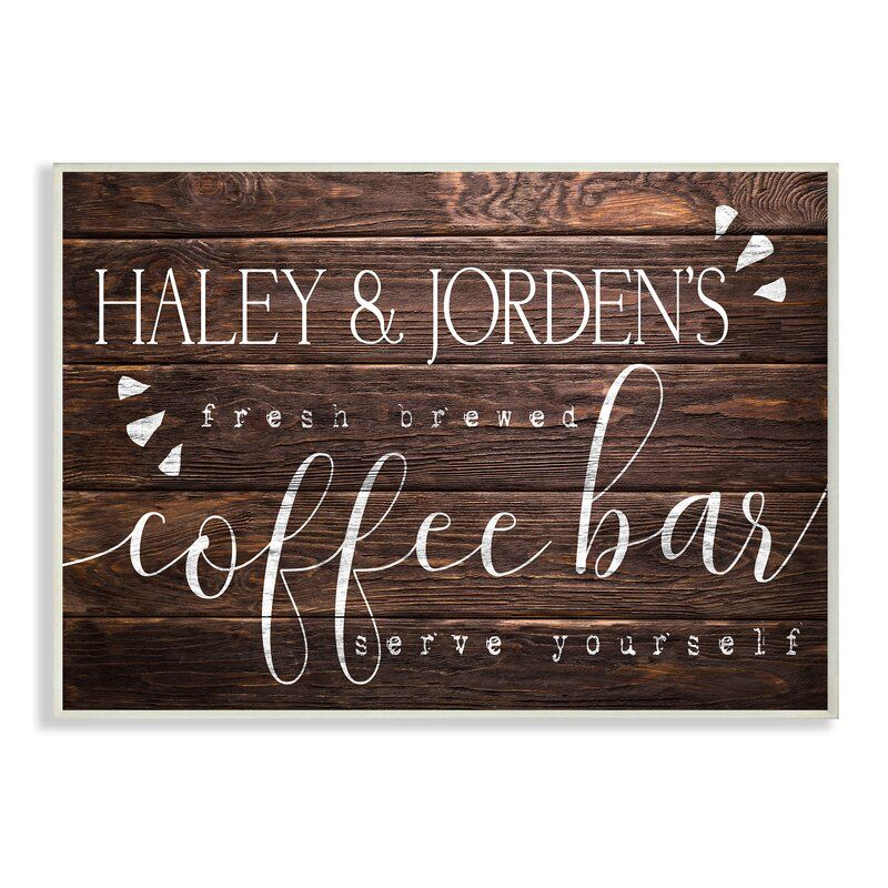 'Coffee Bar Serve Yourself' Textual Art on Wood