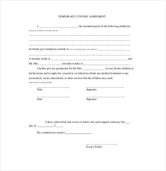 Example Of Child Custody Agreement Custody Agreement Template 10 - parenting plan example