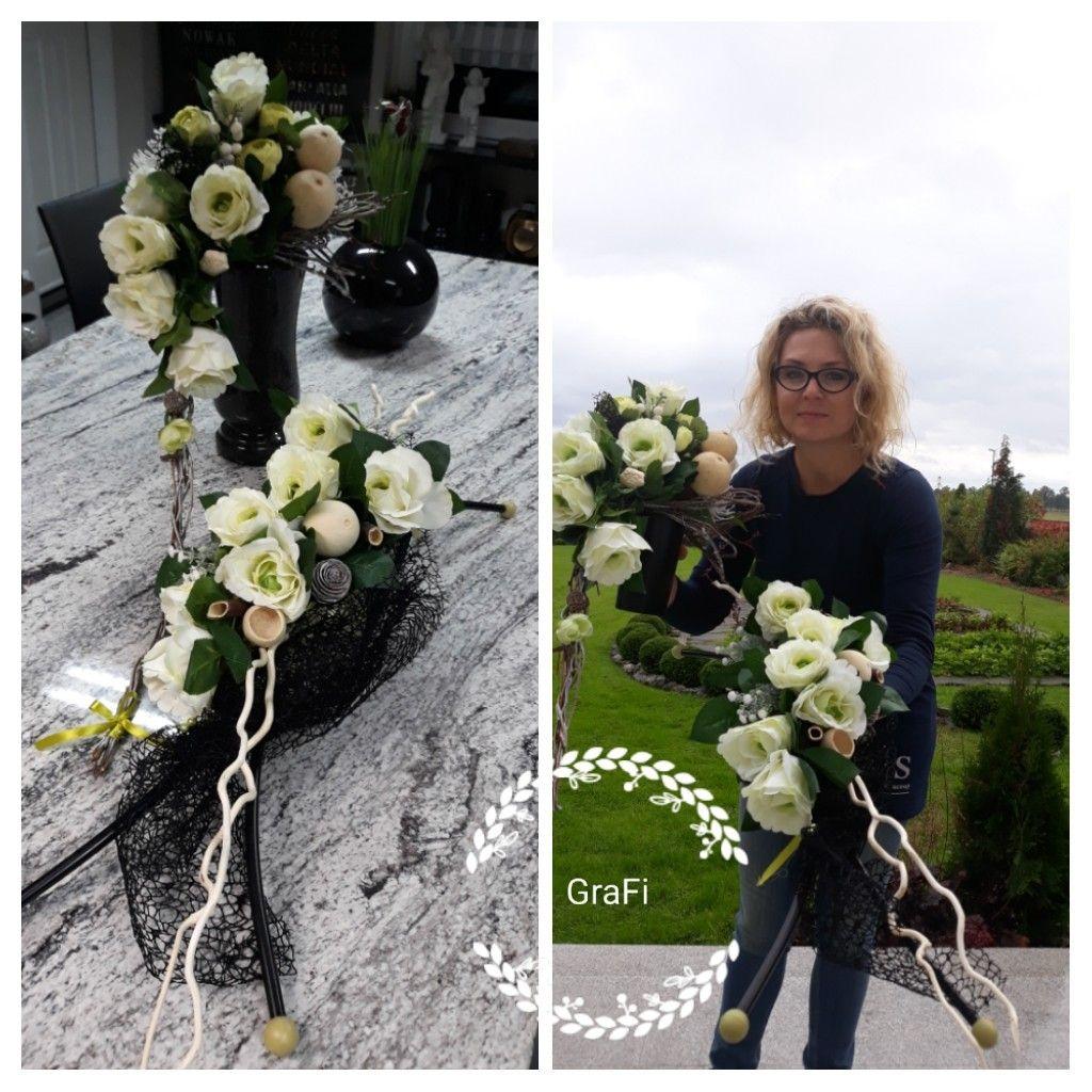 Florystyka Funeralna Dekoracja Na Grob 1 Listopada Kompozycja Nagrobna Stroik Na Grob Grave Decorations Funeral Fall Flowers