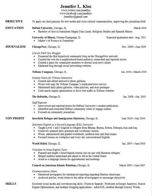 Example Of Resume For Graduate School - Examples of Resumes - resume examples for graduate school
