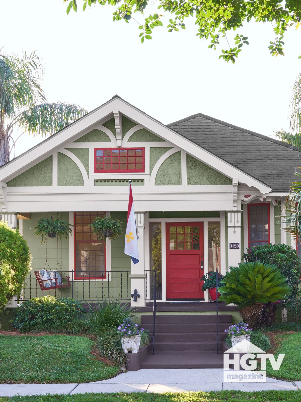 A green and red house featured in HGTV Magazine