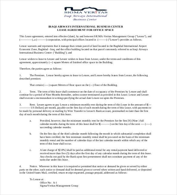 Office Space Lease Agreement Sample Office Space Lease Contract - sample memorandum of agreements
