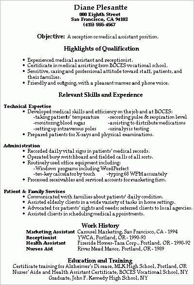 Medical Assistant Objectives Medical Assistant Resume Sample - home health aide resume sample