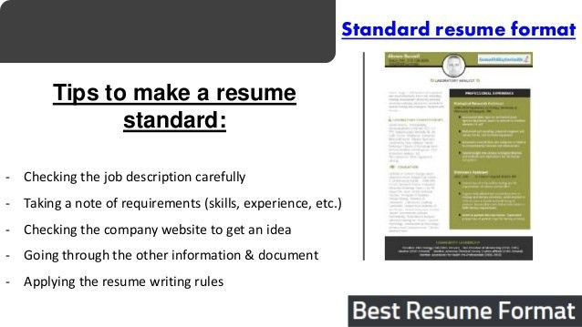 std resume format standard resume templates to impress any standard format resume