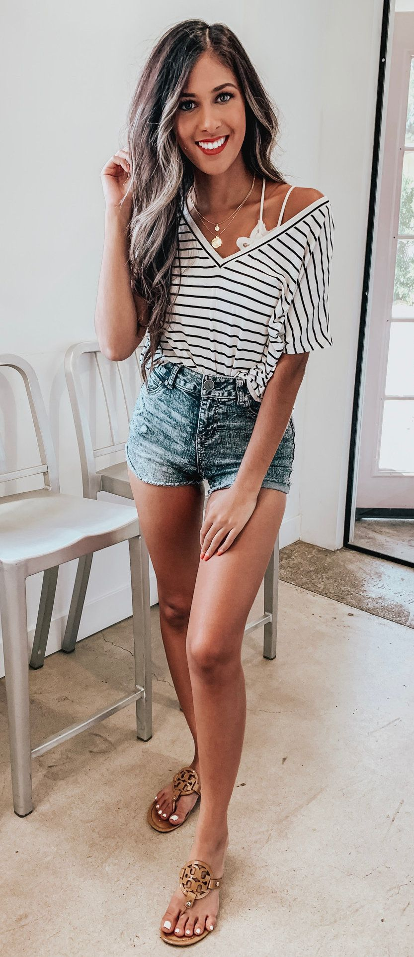 black and white striped V-neck shirt #summer #outfits