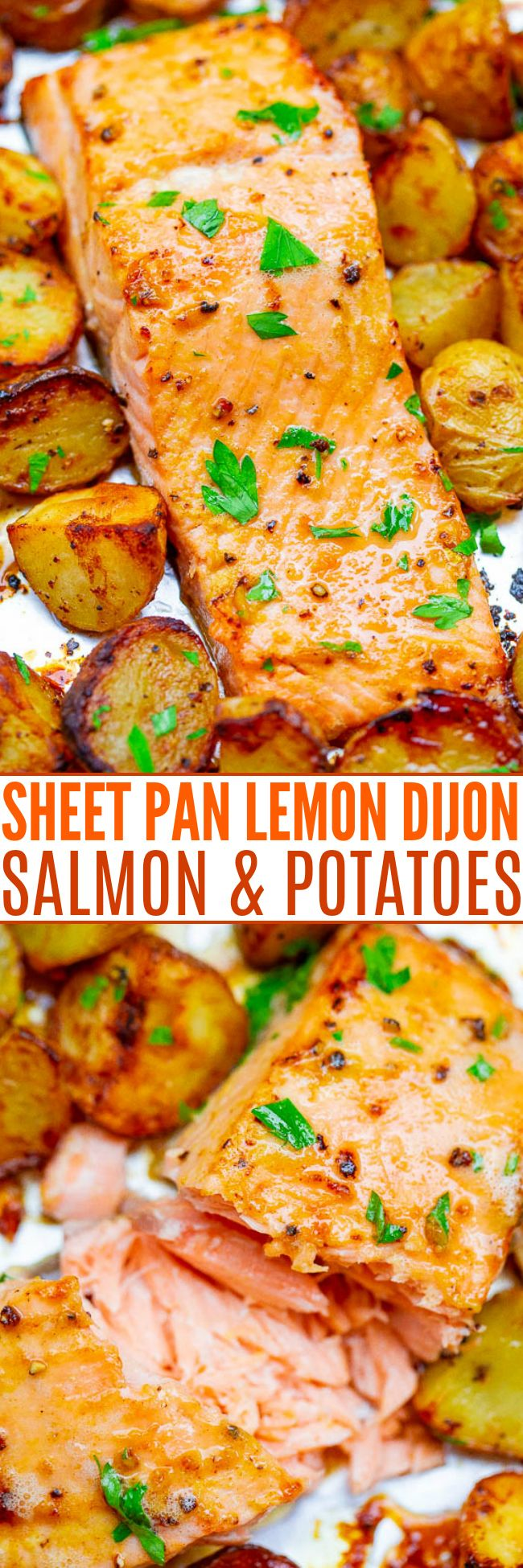 Sheet Pan Lemon Dijon Baked Salmon and Potatoes - This baked salmon and potatoes recipe is ready in 25 minutes, the lemon butter and Dijon mustard add so much FLAVOR, and it's made on ONE sheet pan!! EASY comfort food for busy weeknights!!