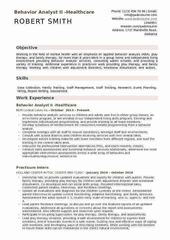 Behavior Analyst Cover Letter