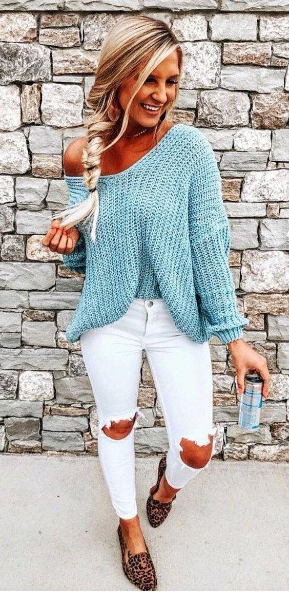 I like this light blue sweater