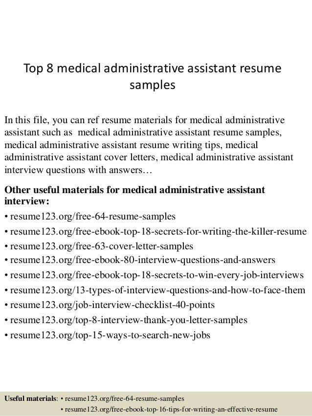 Medical Administrative Assistant Sample Resume  Medical Administrative Assistant Resume Samples