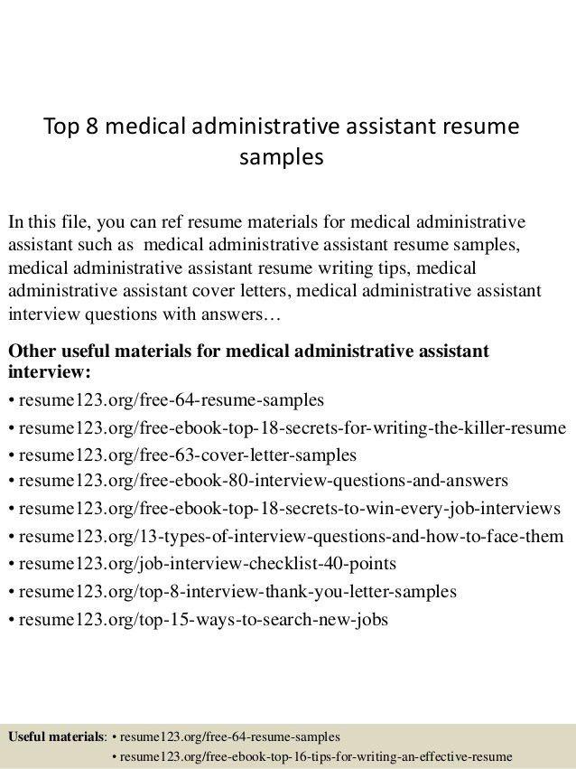 Medical Administrative Assistant Sample Resume  Medical Administrative Assistant Resume Samples