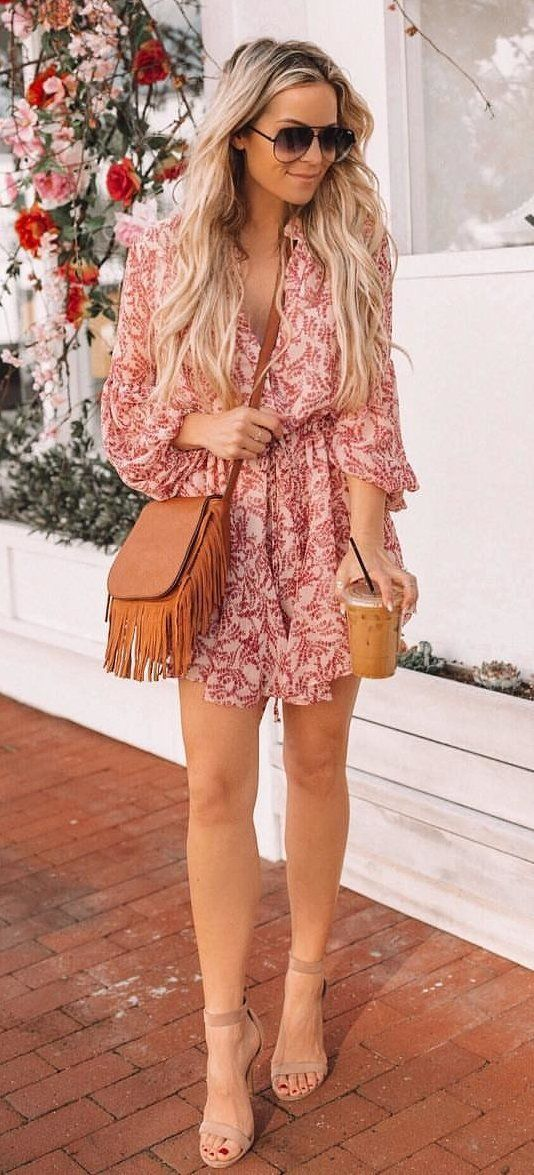 pink and black floral dress #spring #outfits