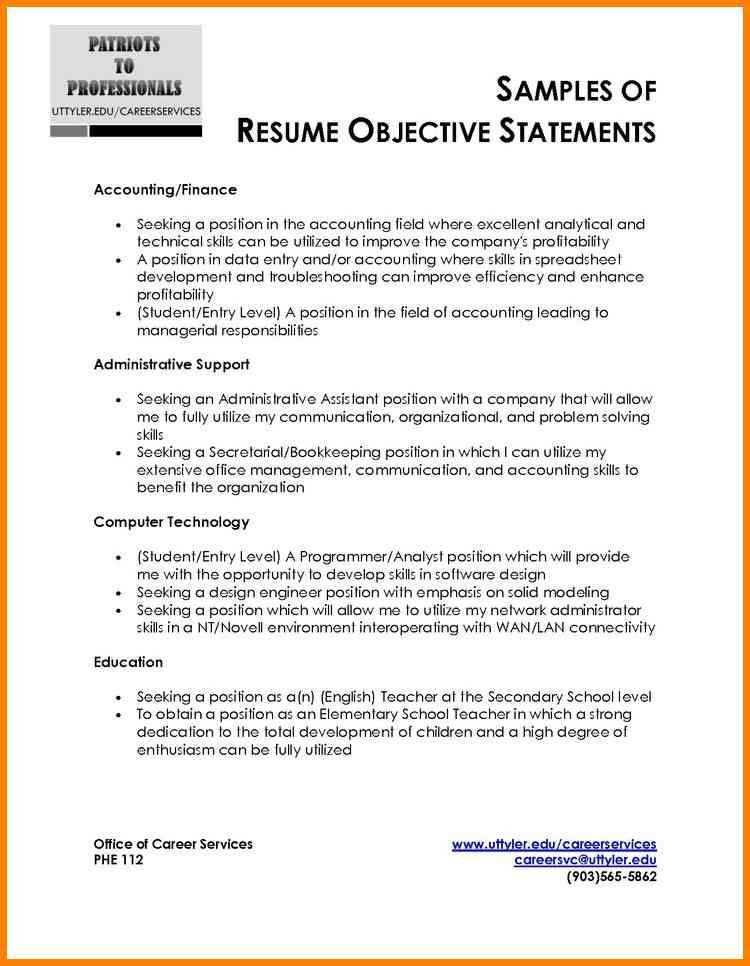 Accounting Resume Objective Statement Examples - Examples of Resumes