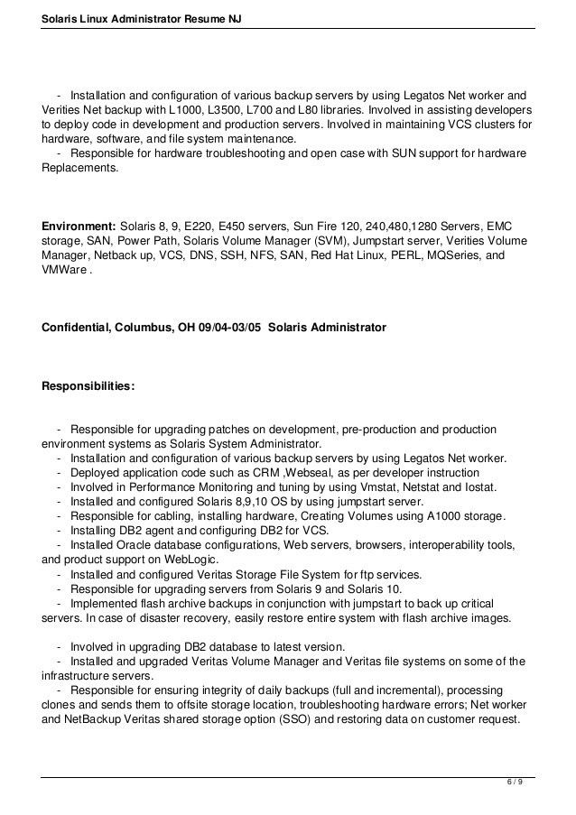 Linux Administrator Resume Sample Systems Administrator Resume - linux administrator resume