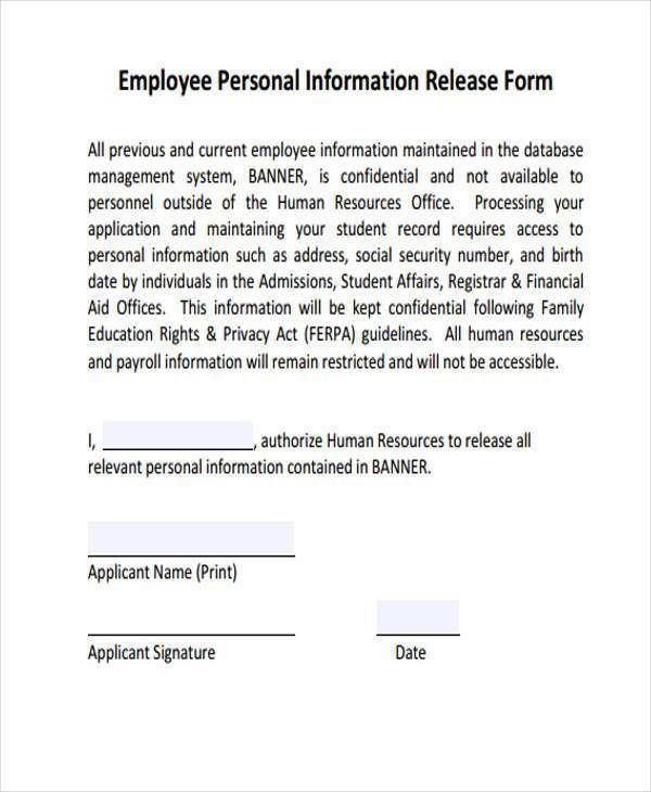 personal information form for employees