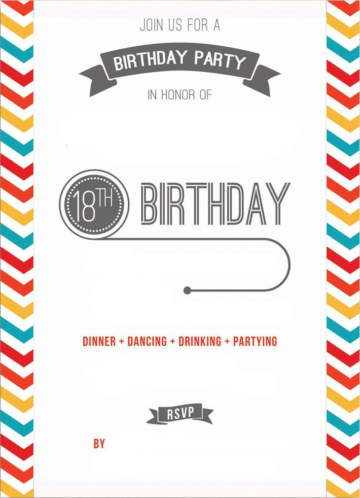 Birthday Invitation Template Printable Best 20 Printable Birthday - free 18th birthday invitation templates
