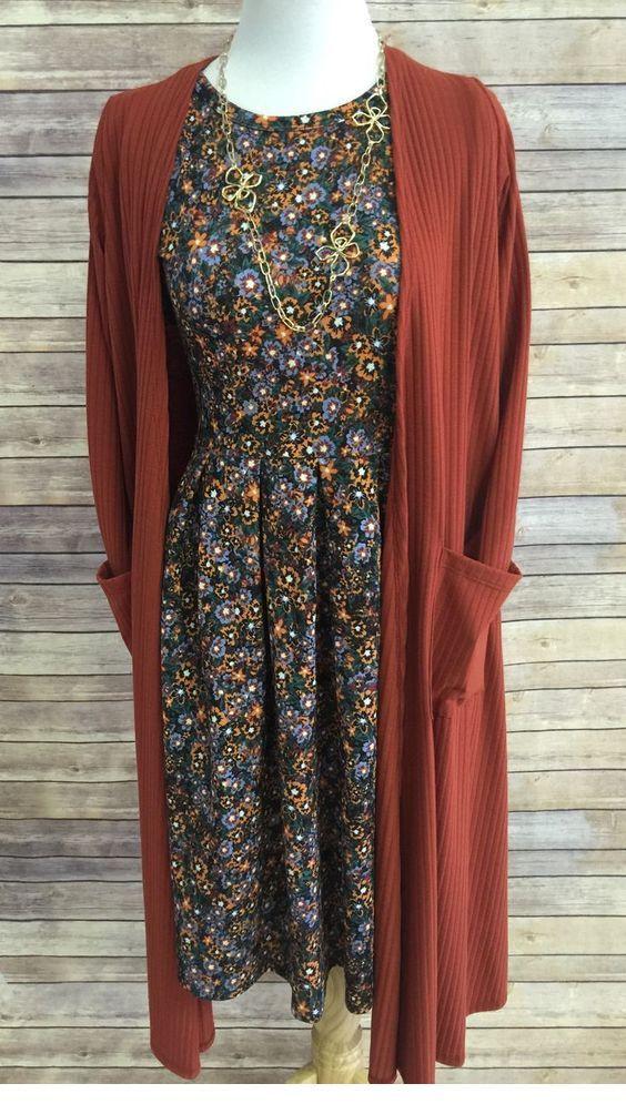 Printed dress and brown cardigan