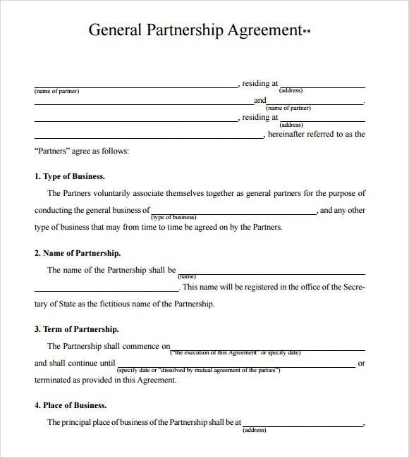 Partner Contract Sample Partnership Agreement Template Form With   General Partnership  Agreements