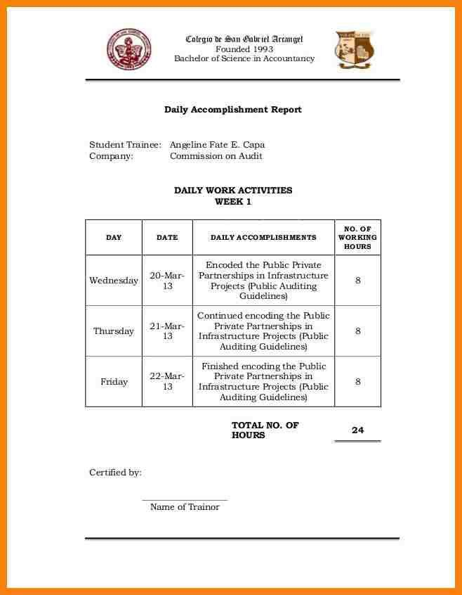 daily accomplishment report template - Romeolandinez