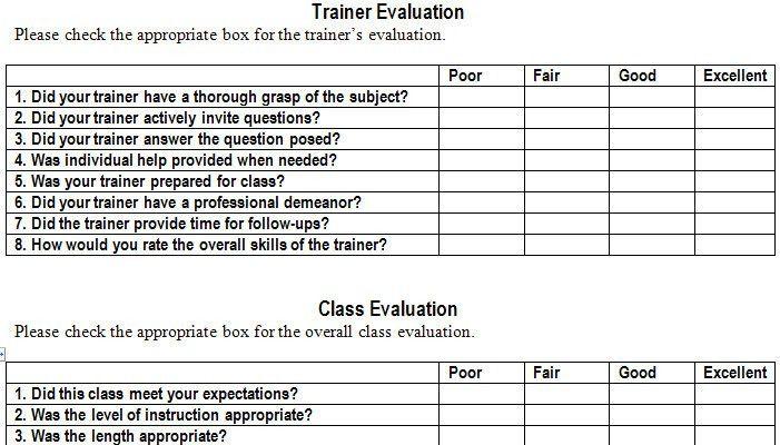 Training Evaluation Feedback Form Sample Training Evaluation Form - class evaluation template