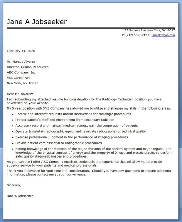 radiology technician cover letter x ray technician cover letter x ray technician cover letter