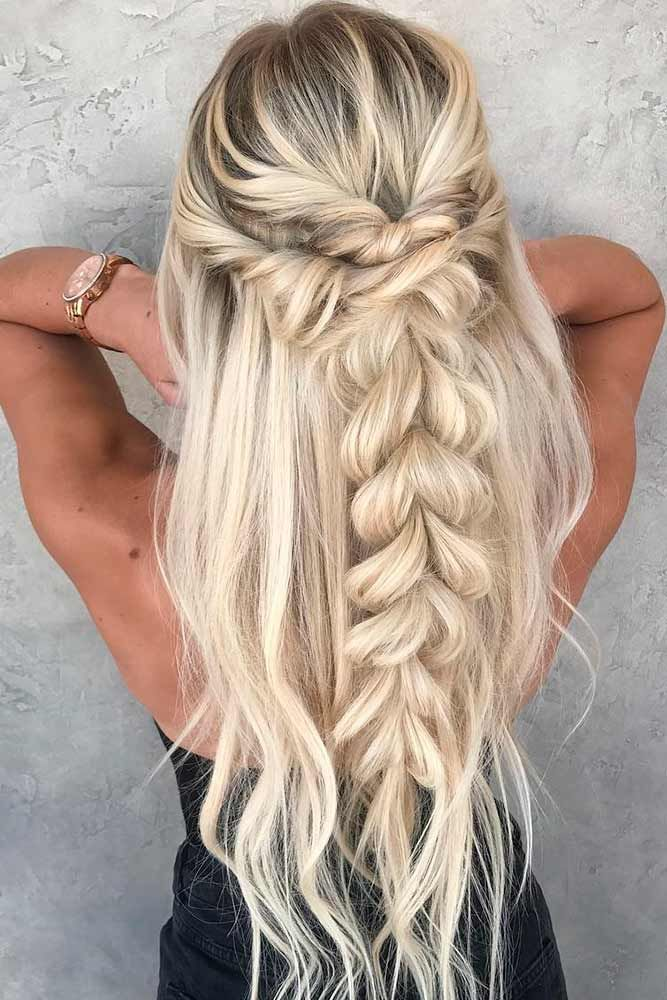 Braided Half-Up Half-Down #longhairstyles #blondehairstyles ★ Discover trendy easy summer hairstyles 2019 here. We have pretty ideas for long, short, and for medium hair. #glaminati #lifestyle #summerhairstyles