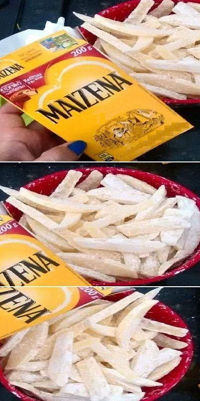 🔥Sugerencia de hoy Antes de freír las patatas, poner un poco de maizena antes de freír en aceite